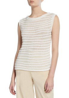 Theory Striped Boat-Neck Sweater Shell