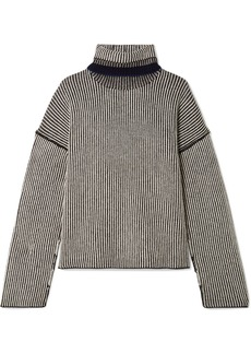 Theory Striped Cashmere Turtleneck Sweater