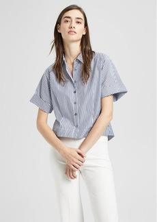 Theory Striped Cotton Cropped Shirt