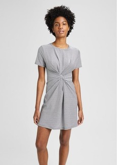 Theory Striped Cotton-Modal Knot Tee Dress