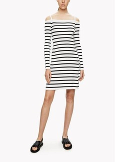 Theory Striped Off-The-Shoulder Dress