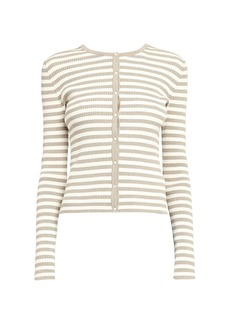 Theory Striped Ribbed Cardigan