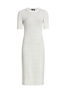 Theory Striped Ribbed Midi Dress