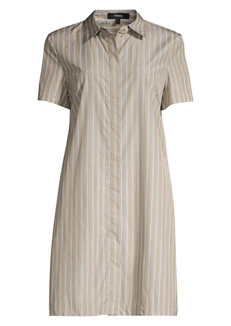 Theory Striped Short-Sleeve Shirtdress