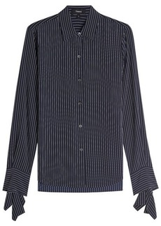 Theory Striped Silk Blouse with Bow Cuffs