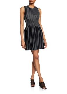Theory Striped Sleeveless Fit-and-Flare Shell Dress