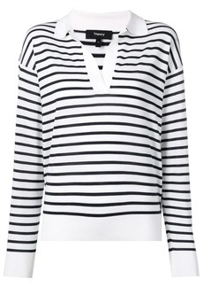 Theory striped V-neck jumper