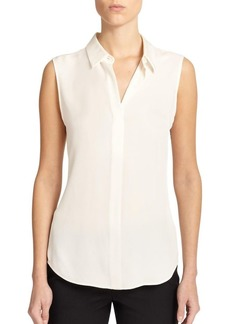 Theory Tanelis Modern Silk Sleeveless Blouse