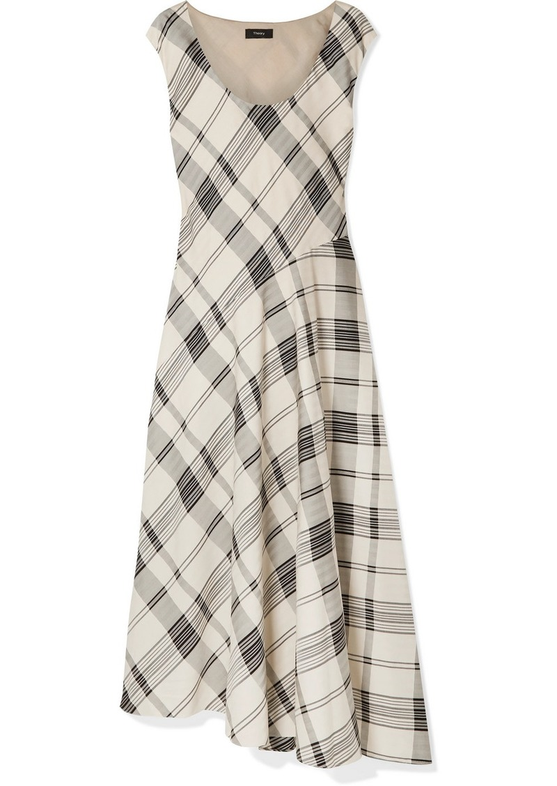 Theory Tango Asymmetric Checked Jacquard Maxi Dress