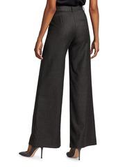 Theory Terena Flannel Wool Wide-Leg Pants