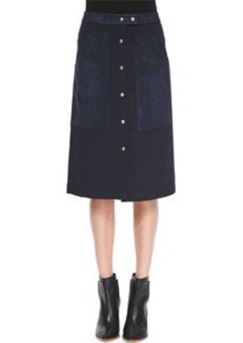 Theory Slyn Fixture Button-Front Ponte Skirt