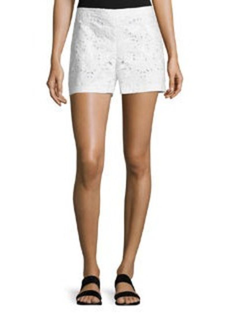 Theory Micro E Embroidered Linen/Cotton Shorts