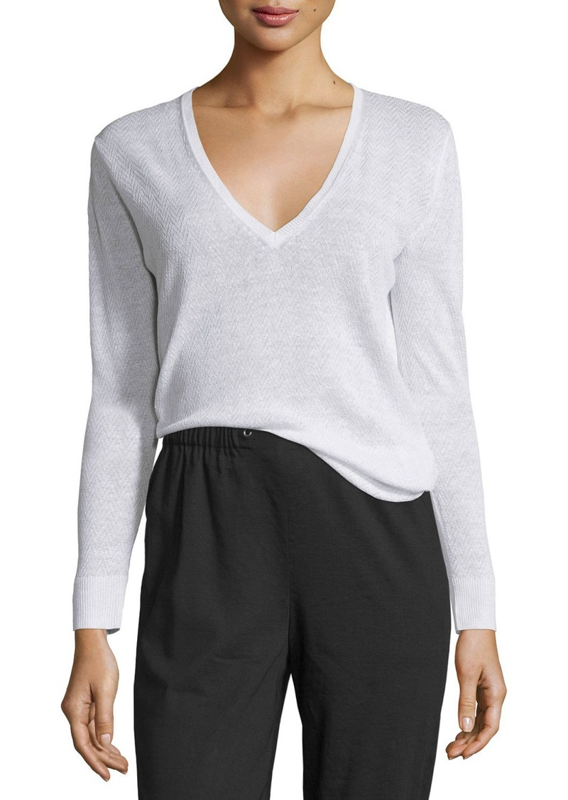 Theory Adrianna Sag Harbor Printed V-Neck Sweater