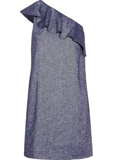 Theory Alexandra one-shoulder ruffled linen-blend mini dress