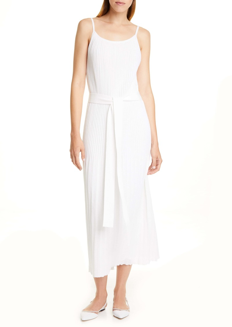 Theory Allover Pleated White Cotton Blend Sundress
