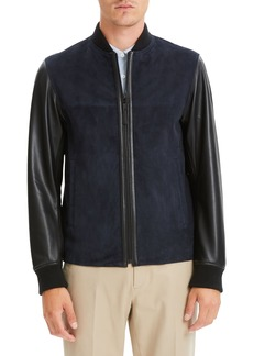 Theory Amir Regular Fit Suede & Leather Bomber Jacket