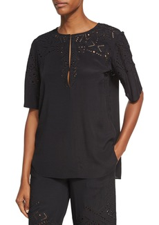 Theory Antazie E2 Ghost Crepe Eyelet Top