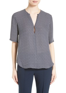 Theory Antazie Tile Geo Print Silk Top