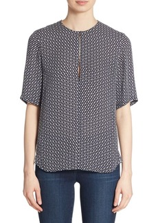 Theory Antazie Tile-Print Silk Blouse