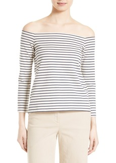 Theory Aprine K Classic Stripe Off the Shoulder Top