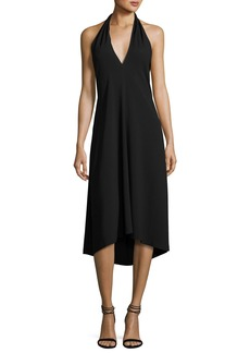 Theory Araci Rosina Crepe V-Neck Halter Midi Dress