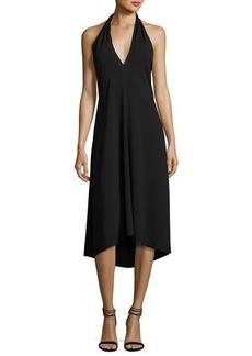 Theory Araci Rosina Crepe V-Neck Halter Midi Dress