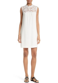 Theory Aronella Elevate Crepe & Lace Shift Dress