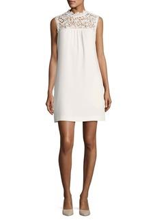 Theory Aronella Elevate Crepe Lace-Yoke Dress