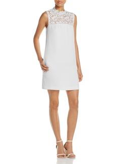 Theory Aronella Lace-Yoke Crepe Dress