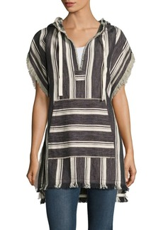 Theory Asmid Striped Cotton & Linen Poncho