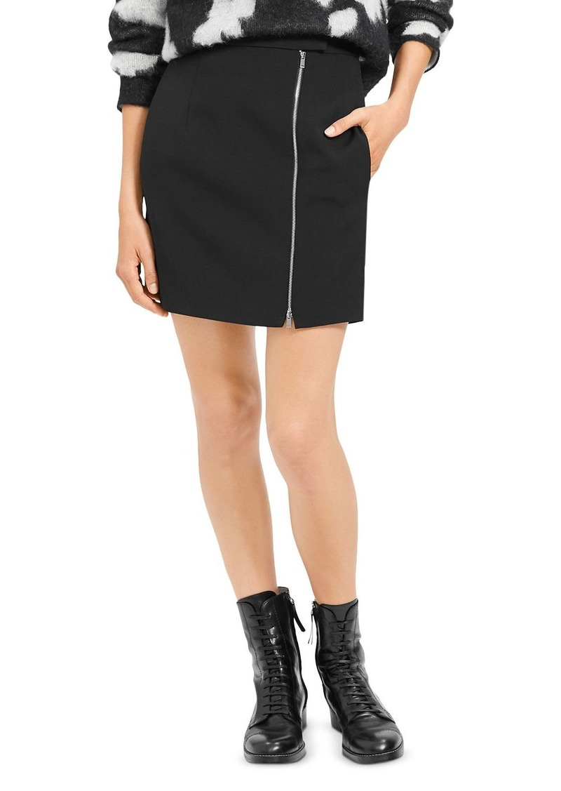 Theory Asymmetric-Zip Wool-Stretch Mini Skirt