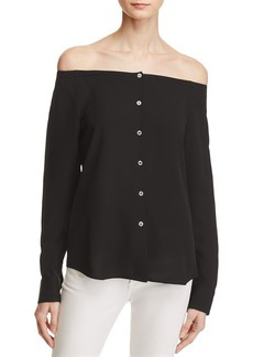 Theory Auriana Off-the-Shoulder Silk Blouse
