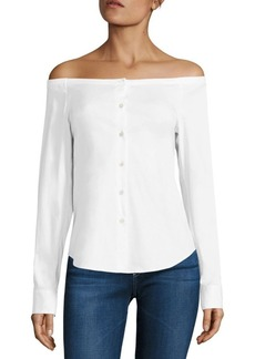 Theory Auriana Stretch-Cotton Off-The-Shoulder Shirt