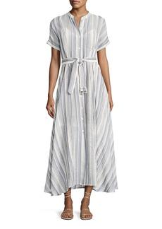 Theory Avinka Belted Striped Maxi Shirtdress