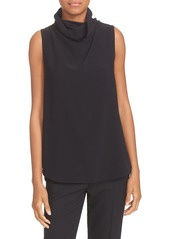 Theory 'Axlie' Button Back Sleeveless Crepe Funnel Neck Top