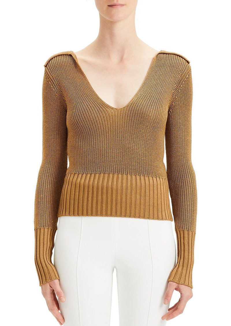 Theory Back-Collar Long-Sleeve Roving Cropped Sweater