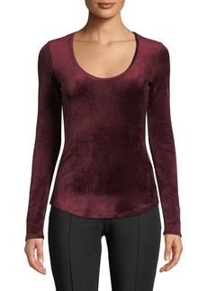 Theory Basic Scoop-Neck Long-Sleeve Velour Top