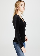 Theory Basic Velour Long Sleeve Top