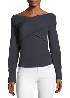 Theory Bateau-Neck Wrapped Stretch-Cotton Top