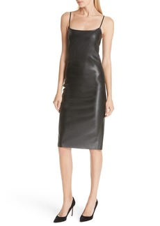 Theory Bedford Faux Leather Slipdress