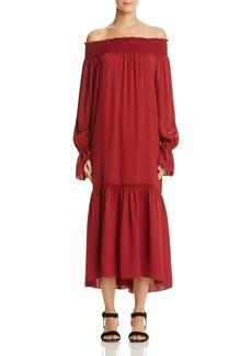 Theory Belinsie Off-The-Shoulder Silk Midi Dress