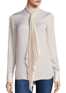 Theory Bellana Pleated Tie-Neck Blouse