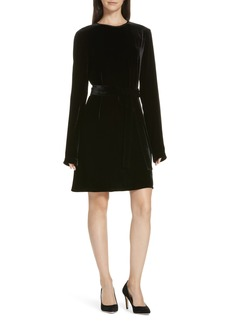 Theory Belted Crinkled Velvet Dress