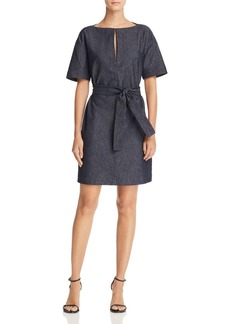 Theory Belted Denim Shift Dress