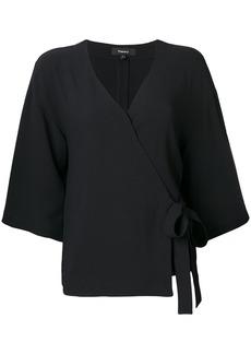 Theory belted V-neck blouse - Black