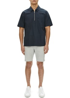 Theory Bergen Mercerized Cotton/Linen Quarter-Zip Polo Shirt