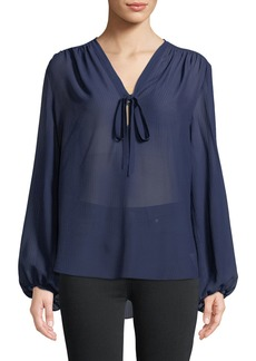 Theory Bernetta Long-Sleeve Pebbled Seersucker Silk Blouse