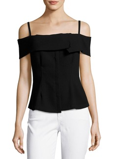 Theory Bertson Cold-Shoulder Crepe Top