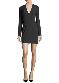 Theory Bi-Stretch Deep-V Long-Sleeve Crepe Mini Dress