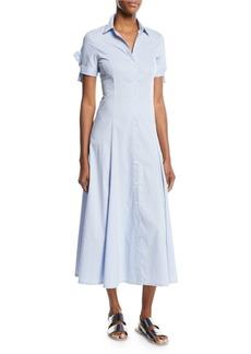 Theory Birch-Stripe Tie-Sleeve Shirt Dress
